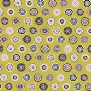 Inprint Folk - 4046 - Stylised Lace Circles - Mustard Yellow - 8947 Y31 - Cotton Fabric